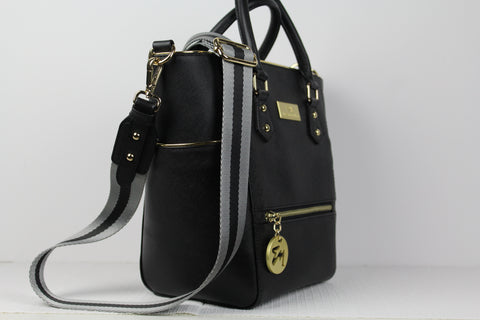black saffiano leather satchel bag