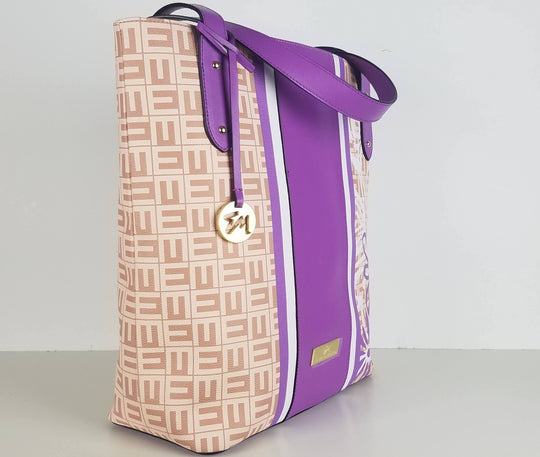 designer monogram bag. purple bag. Purple tote bag.