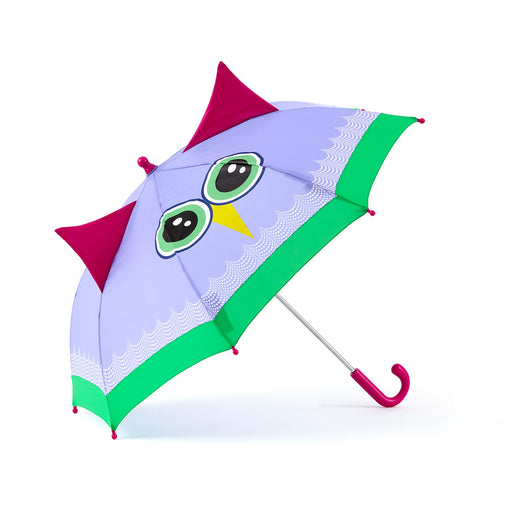 brightly colored childrens umbrella in a lavender owl design with big eyes, green trim and pop-up fuchsia