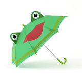 brightly colored childrens umbrella in a kelly green frog design with a big red smile, lime green trim and pop-up eyeballs on top. matching lime green curved crook handle.