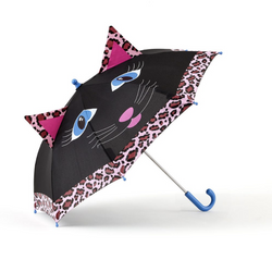 brightly colored childrens umbrella in a black and pink cat design with big blue eyes, whiskers, pink leopard print trim and pop-up kitty ears on top. matching bright blue curved crook handle.