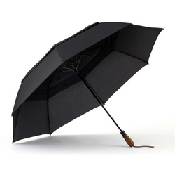 large black vented double canopy wind resistant two person umbrella with ergonomic wood handle and leather wrist strap