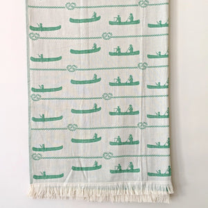 Canoe Design Turkish Towel, Green, use in Hiking, Camping, Canoeing, Toronto Canada