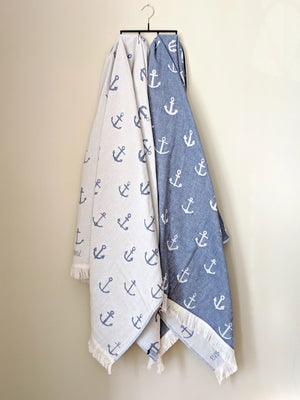 Turkish Towel, Anchor Designs, Navy, Reversible, for Travel Beach Bath, absorbent, durable
