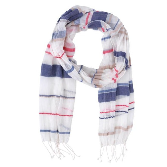 Helen, Scarf, Navy and Red stripes on Beige White