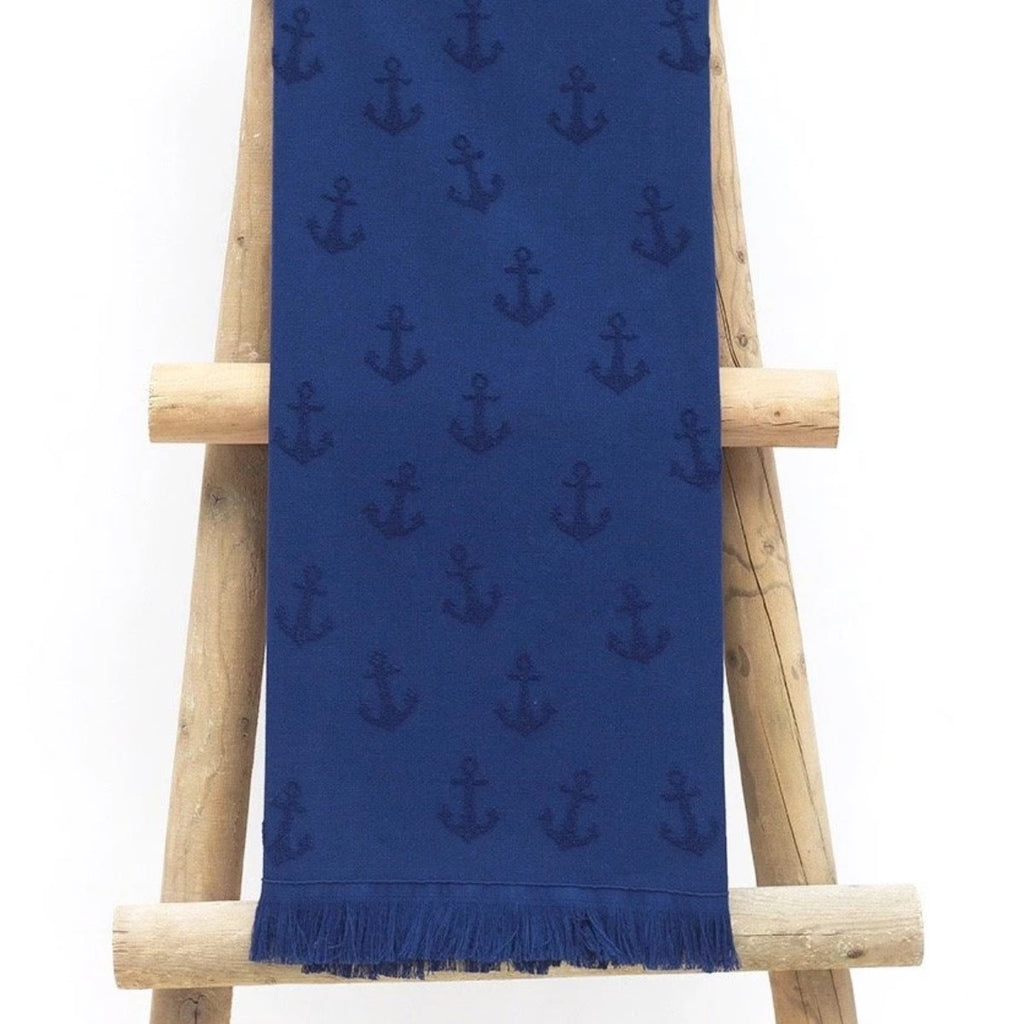 Fisherman's Anchor, Navy, Dark Blue, Turkish Towel, One side Terry, One side Flat woven, With Fringes, Light Weight, Quick Drying, Peshtemal, For use in Bath Beach Spa Hammam Sail Boat, SummerForever.ca, Summer Forever Toronto Canada