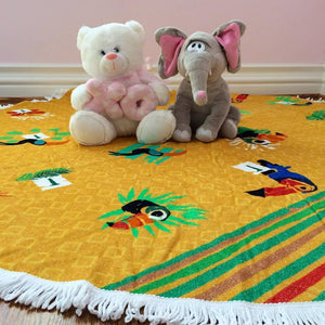 Toucan Tropic, Kids' Round Towel, Yellow & White with Fringes