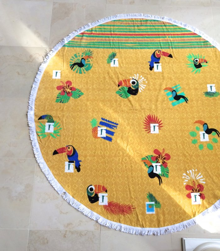 Kids' Round Towel, Toucan Tropic, Yellow & White with Fringes