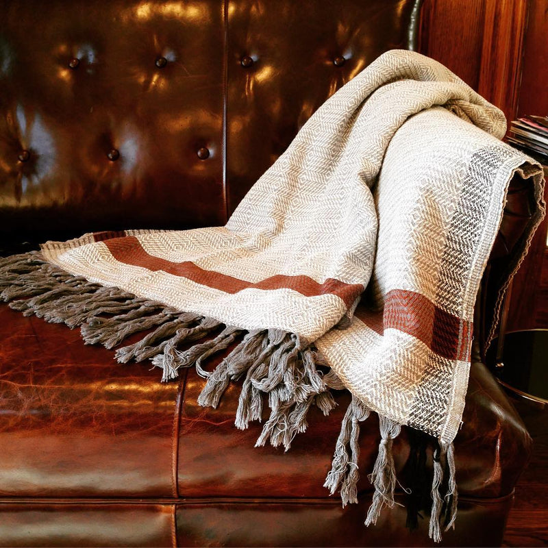 Harlow, Throw, Blanket; Bitter Burgundy on Beige with tassels