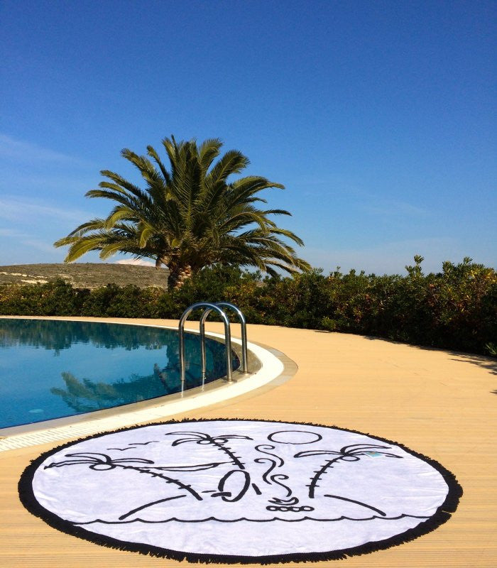 The Perfect Little Island, Round Towel, Black & White with Fringes