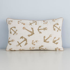 Anchor Embroidery, Elegant Cushion Case, Beige Handmade, Cotton
