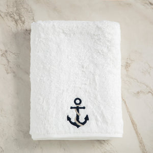 Turkish Terry Towel with Anchor Embroidery, White, for Boat or Bath, ultra soft, very absorbent