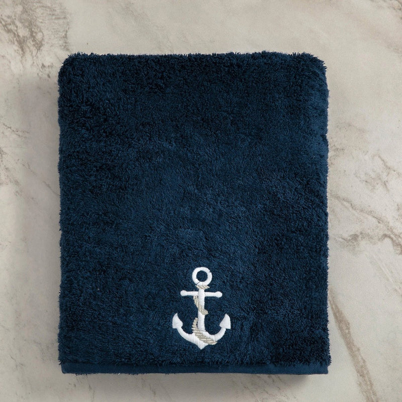 Turkish Terry Towel with Anchor Embroidery, Navy, for Boat or Bath, ultra soft, very absorbent