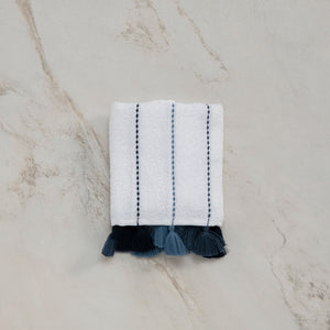 Lina, Terry Towel, Blue Stripes on White, Dark Blue Tassels, ultra soft, very absorbent