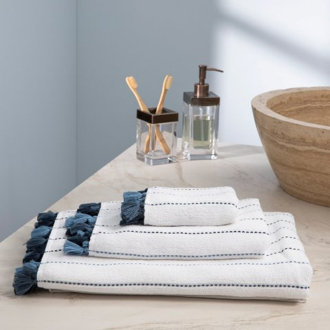 Lina, Terry Towel, Blue Stripes on White, Dark Blue Tassels, ultra soft, very absorbent, wash hand bath towels together