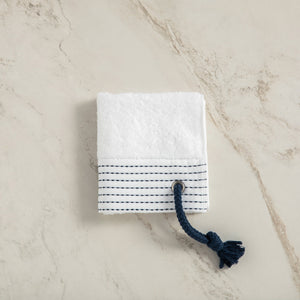 Turkish Terry Towel with Stylish Navy Rope as a loop, white, for Boat or Bath, ultra soft, very absorbent, easy to hang, Bamboo Combed Cotton