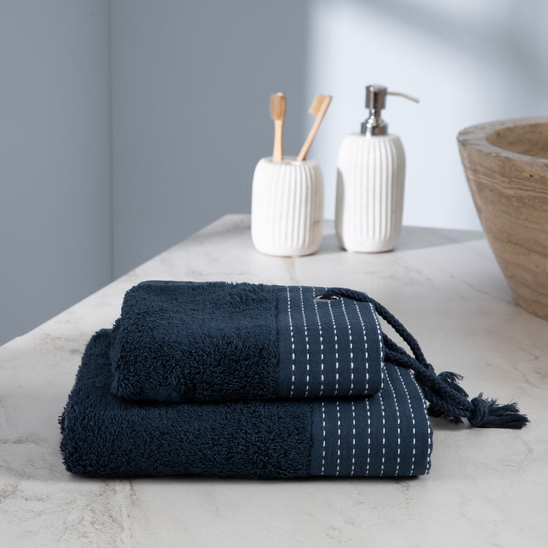 Turkish Terry Towel with Stylish Rope as a loop, navy, for Boat or Bath, ultra soft, very absorbent, easy to hang