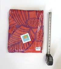 Round Towel, Birds of Paradise, Purple & Orange with Pompoms
