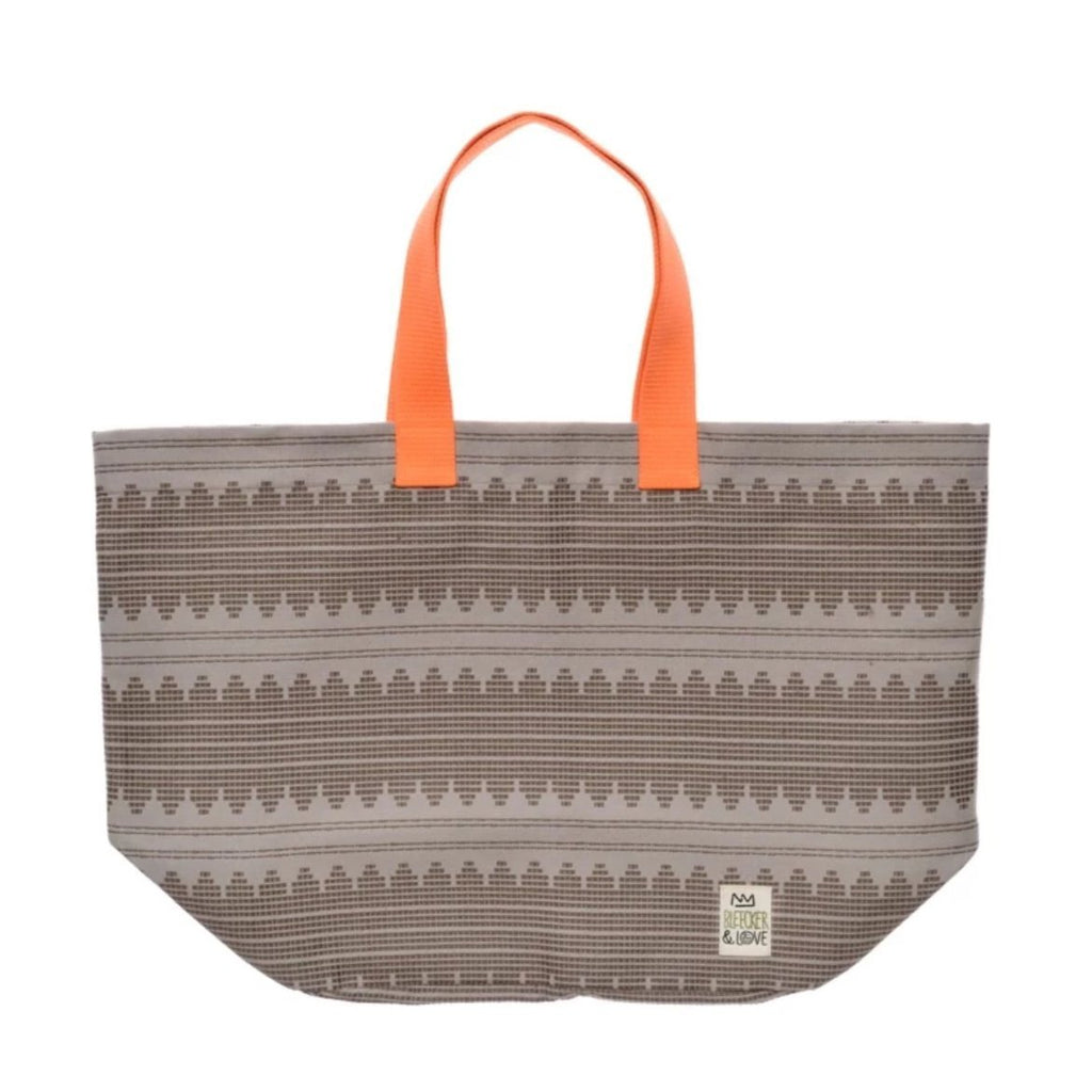 Beach Bag - Sound Waves - Beige with Orange handles, waterproof lining