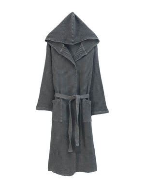 Hooded Waffle Bathrobe, Anthracite