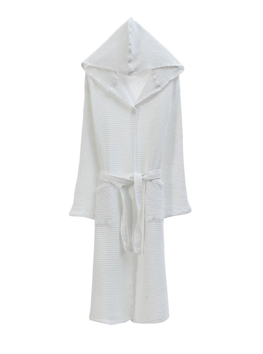 Hooded Waffle Bathrobe, Off White