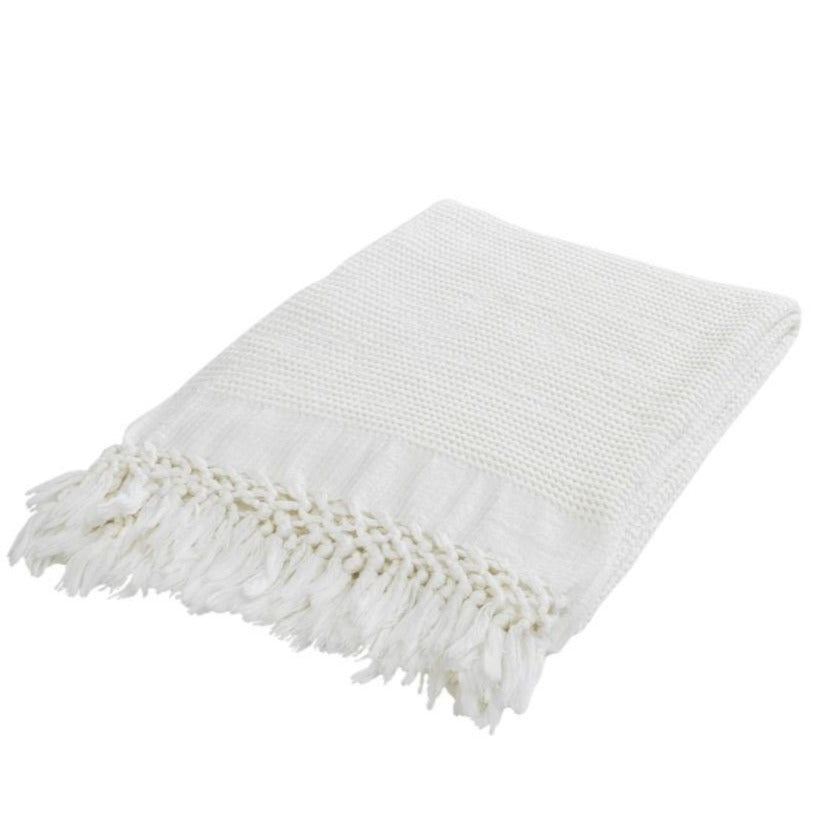 Boho, Throw, Blanket; White