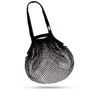 Bamboo Cotton Net Bag, Double Handles, Black