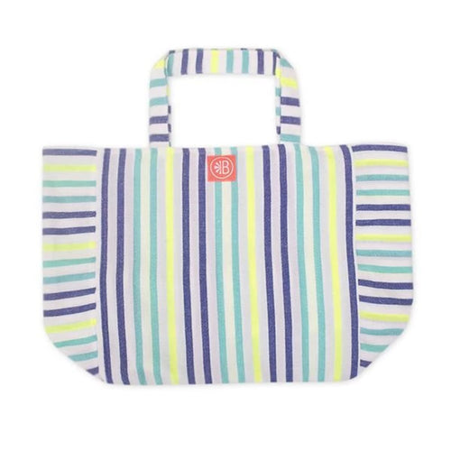 Beach Bag Colourful Stripes on White