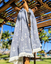 Anchors, Turkish Towel, Navy