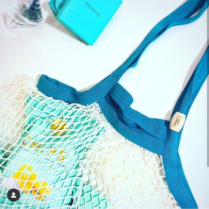 Bamboo Net Bag, Double Handles, White Body & Turquoise Handles
