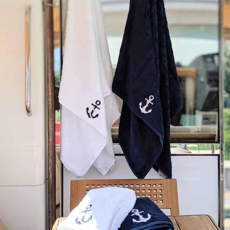 Turkish Terry Towel with Anchor Embroidery, Navy, White for Boat or Bath, ultra soft, very absorbent