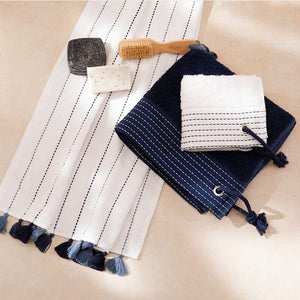 Lina, Terry Towel, Blue Stripes on White