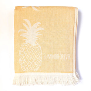 Turkish Towel, Pineapple Design, Yellow, Reversible, for Travel Beach Bath, absorbent, durable