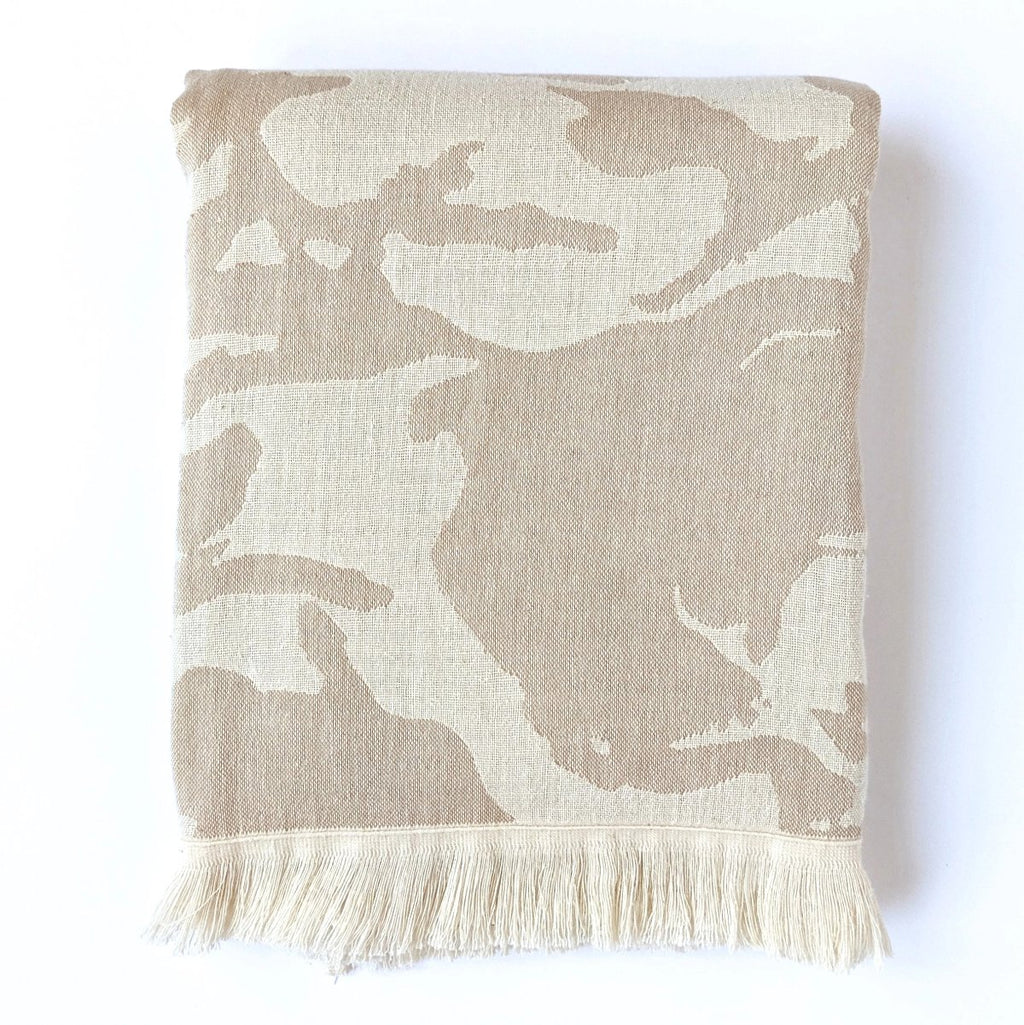 Beige Camo Camouflage Design Turkish Towel, Reversible, for Travel Beach Bath, absorbent, durable