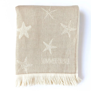 Turkish Towel, Star Designs, Beige, Reversible, for Travel Beach Bath, absorbent, durable