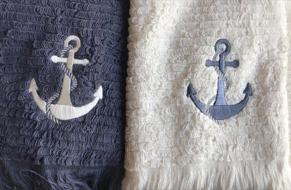 Athena, Turkish Towel, Off White w/Anchor Embroidery