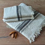 Linen Turkish Towel, Beige & Black