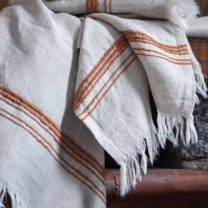 Linen Turkish Towel, Beige & Tobacco