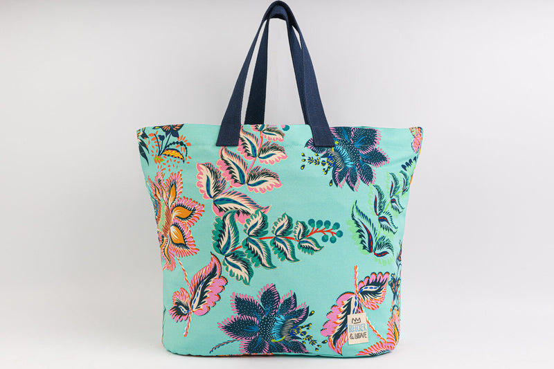 Beach Bag - Floral  - Turquoise