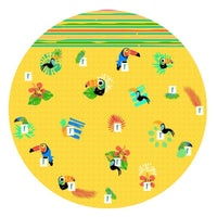 Luxurious Round Towel with Toucan Tropical  Design. For the Beach Pool and Bath Play Toronto Canada.
