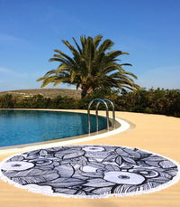 Designer Round Towel, Circle, fringes, beach blanket, Toronto Canada black & White