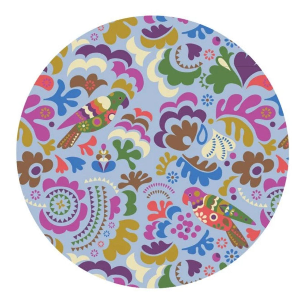 Round Towel, Parrot Island, Pastel with Pompoms