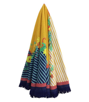 Round Towel, Stripe Flowers, Navy & Yellow with Fringes