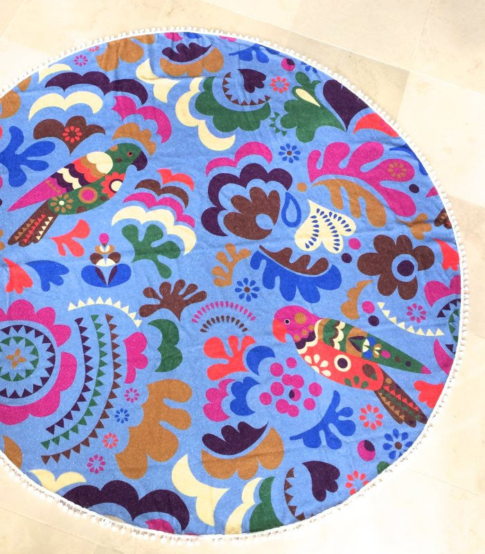 Parrot Island, Round Towel, Pastel with Pompoms