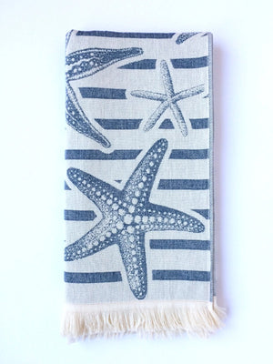 Turkish Towel with Different Star Fish, Sea Star Designs, stripes on one side, Navy, off white, Double Sided, Reversible, for Beach or Bath, absorbent, very durable