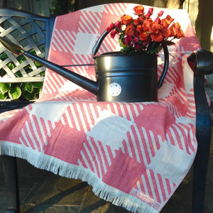 Check design, Red, Turkish Towel, Gingham, Checkers, Plaid, Double Sided, Light Weight, Quick Drying, For use in Hiking, Camping, Canoeing, Travel, Bath, Pool, Beach, Spa, SummerForever.ca, Summer Forever Toronto Canada