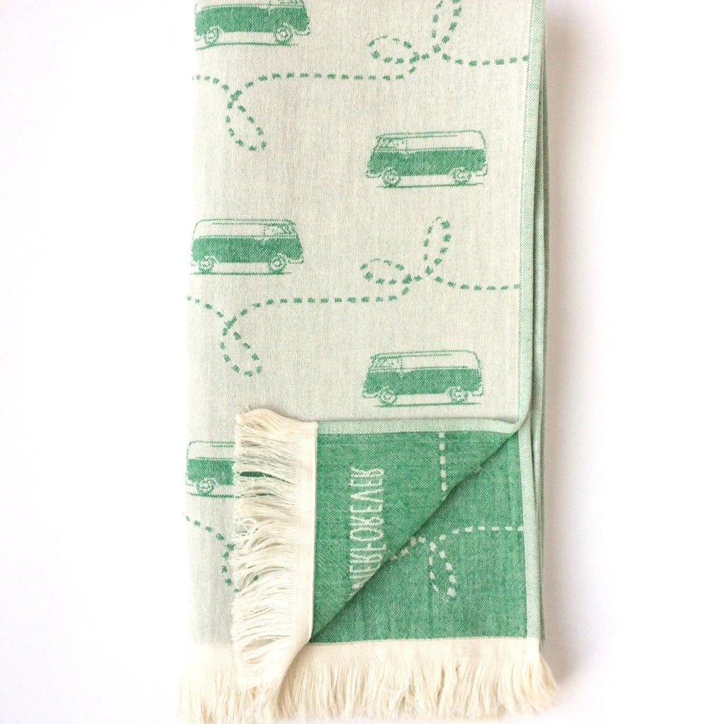 Turkish Towel, Camper Van, WV Design, Green, Reversible, for Travel Beach Bath, absorbent, durable