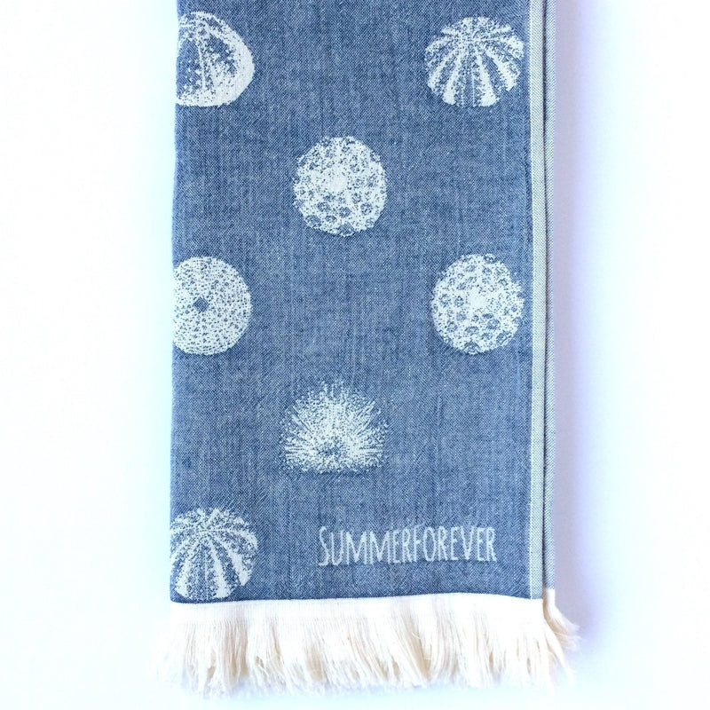 Turkish Towel with Different Sea Urchin Designs, Navy, off white, Double Sided, Reversible, for Beach or Bath, absorbent, very durable