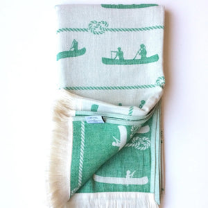 Canoe Towel, Canoe design, Green, Turkish Towel, Double Sided, Light Weight, Quick Drying, For use in Hiking, Camping, Canoeing, Travel, Bath, Pool, Beach, Spa, SummerForever.ca, Summer Forever Toronto Canada