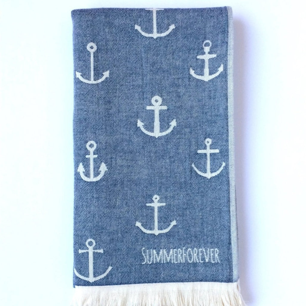 Turkish Towel with Different Anchor Designs, Navy, off white, Double Sided, Reversible, for Beach or Bath, absorbent, very durable